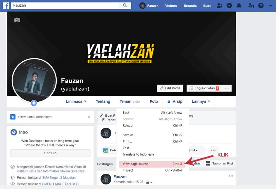 Halaman profil Facebook