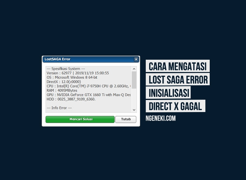 Cara Mengatasi Lost Saga Error Inisialisasi Direct X gagal