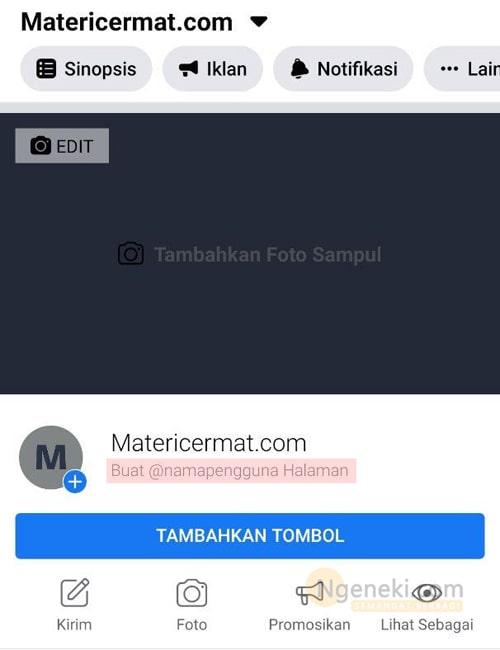 Membuat nama pengguna halaman