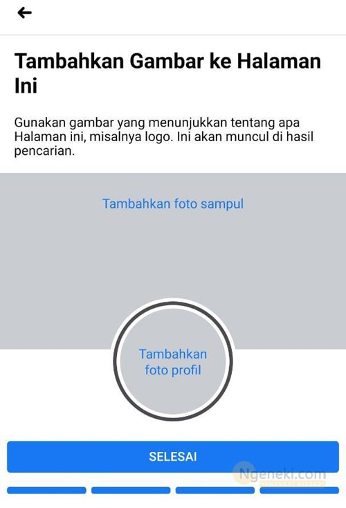 Memilih foto profil dan sampul Halaman