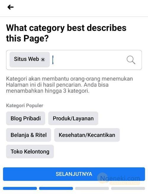 Memilih kategori halaman