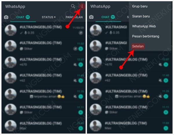 Tampilan utama WhatsApp dan Menu Setelan